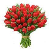 """Букет из 51 красного тюльпана """"Огонь любви"""""""