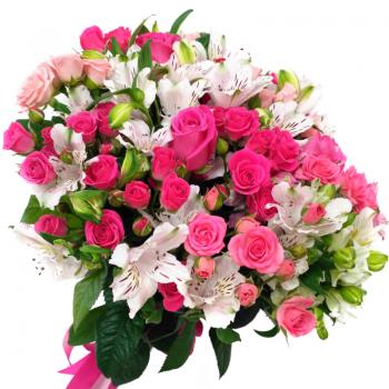 """Букет микс """"Розы и альстромерии"""". annetflowers.com.ua. купить букет из роз и альстромерий"""