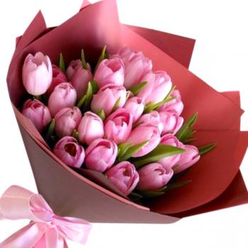 """Букет розовых тюльпанов """"Ингрид"""". annetflowers.com.ua. Купить розовые тюльпаны в Киеве"""
