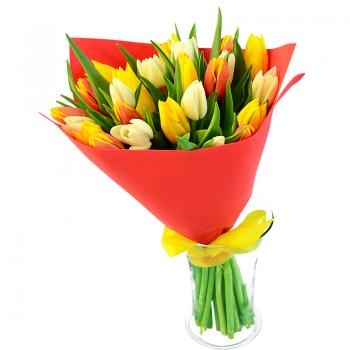 """Букет тюльпанов """"Изольда"""". annetflowers.com.ua. Купить тюльпаны недорого"""
