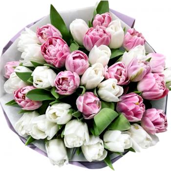 """Букет тюльпанов """"Катрина"""". annetflowers.com.ua. Купить тюльпаны микс в Киеве"""