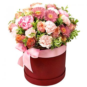 """Букет в коробке """"Цветочный коктейль"""". annetflowers.com.ua. Микс цветов в коробке"""