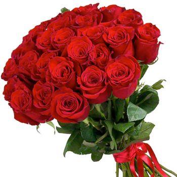 25 красных Голландских роз. annetflowers.com.ua. Купить букет из 25 красных роз в Киеве