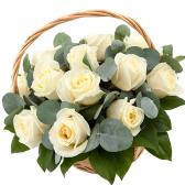 "Корзина белых роз ""Мирабелла"""