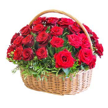 """Корзина роз """"Юбилей"""". annetflowers.com.ua. Купить красные розы в корзине в Киеве"""
