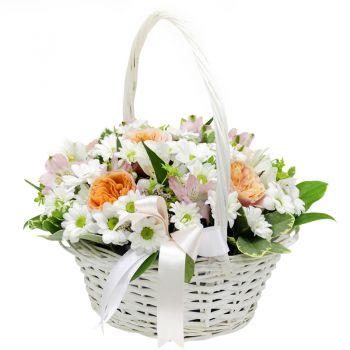"""Кошик квітів """"Білосніжка"""". annetflowers.com.ua. Купити квіткову корзину з хризантемами і альстромерій"""