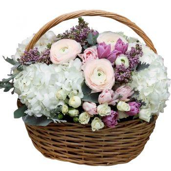 """Корзина цветов """"Душистый микс"""". annetflowers.com.ua. Купить букет в корзине с доставкой по Украине"""