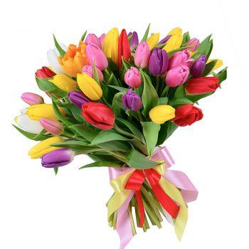Микс из 35 тюльпанов. annetflowers.com.ua. Купить букет из разноцветных тюльпанов в Киеве