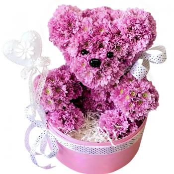 """Мишка из хризантем """"Праздничный"""". annetflowers.com.ua. Купить букет из сиреневых хризантем"""