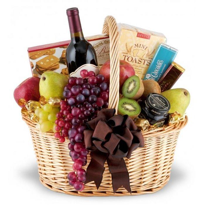 корзина с фруктами и вином в подарок своими руками фото представляет