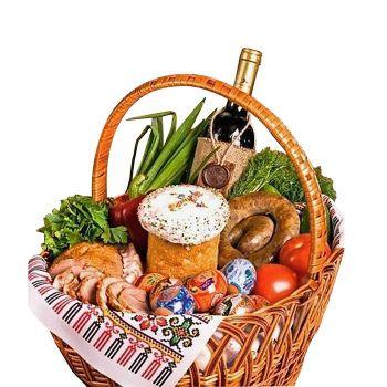 """Праздничная корзина на пасху """"Вкусняшка"""". annetflowers.com.ua. Купить пасхальную корзину"""