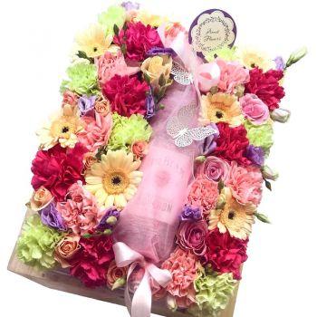 Подарочная коробка с цветами и алкоголем. annetflowers.com.ua. Купить в Киеве
