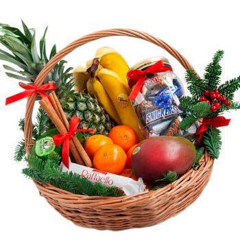 """Подарочная корзина """"С Новым Годом"""". annetflowers.com.ua. Заказать новогоднюю корзину с доставкой на дом"""