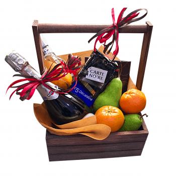 """Подарочный набор в деревянном ящике """"Вино и фрукты"""". annetflowers.com.ua. Заказать набор фруктов в деревянном ящике с доставкой"""