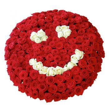 """101 троянда """"Привіт улюбленої"""". annetflowers.com.ua. Купити букет з 101 червоно-білої троянди"""