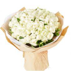 "75 белых роз ""Надежда"""