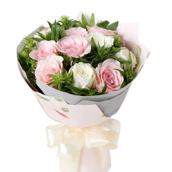 Букет 9 роз микс. annetflowers.com.ua. Купить букет роз микс с доставкой на дом