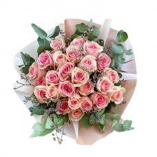 Букет з 25 рожевих троянд