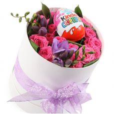 """Розы в шляпной коробке """"Праздничная"""""""