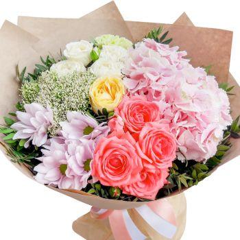 """Сборный букет """"Летняя соната"""". annetflowers.com.ua. Купить букет из хризантем, кустовой розы и гортензии"""