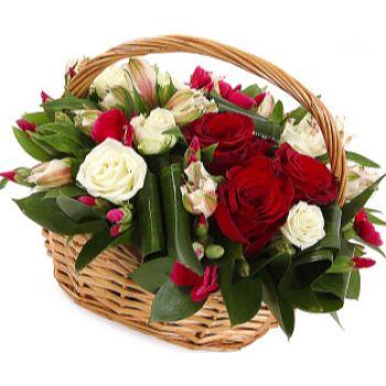 """Корзина роз """"Белое и красное"""". annetflowers.com.ua. Купить композицию из красных и белых роз в корзине"""