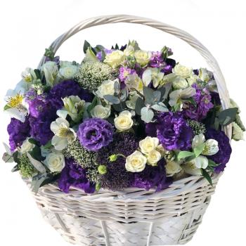"""Цветы в корзине """"Елизавета"""". annetflowers.com.ua. Купить букет в корзине"""