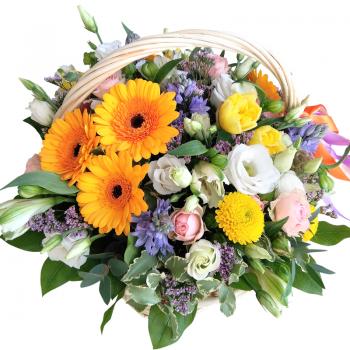 Цветы в корзине на 8 марта. annetflowers.com.ua. Купить весенний букет в корзине