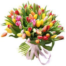 """Большой букет из 101 тюльпана """"Радуга"""""""